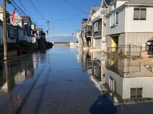 Sunny-day Tidal flooding in a coastal community